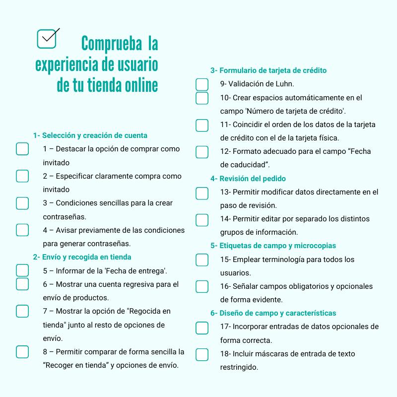 UX, checklist de experiencia del usuario en tu tienda
