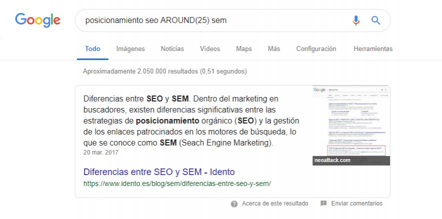 comando google búsqueda relacionada