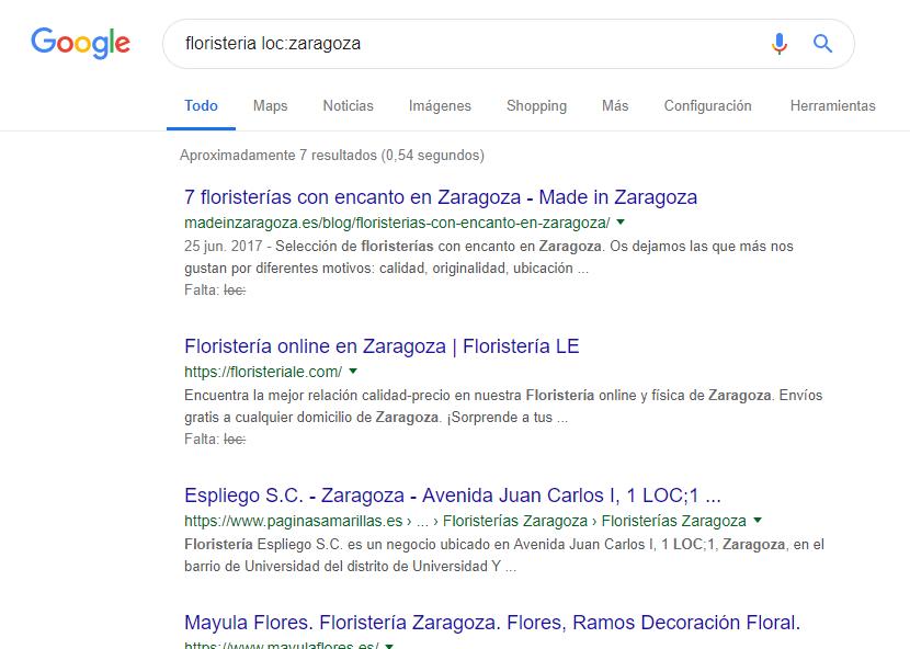 comando google para búsquedas locales