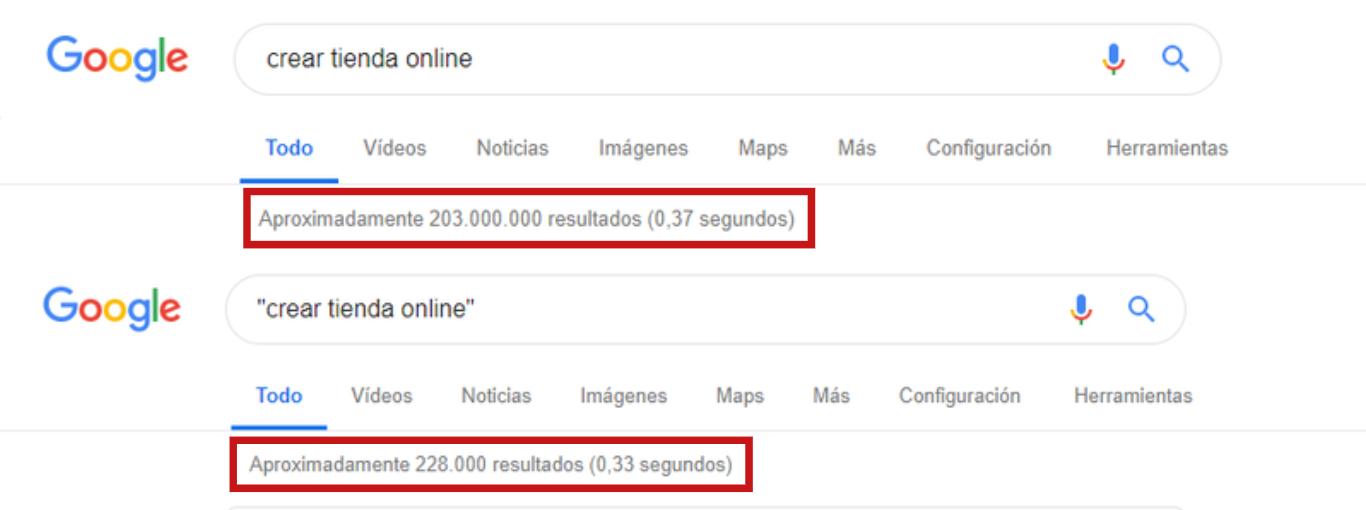 Comandos google búsquedas exactas