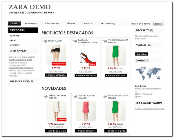 Crear tienda zara online - Palbin