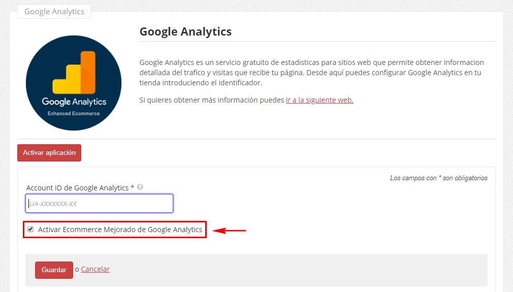 configuracion de google Analytics ecommerce mejorado