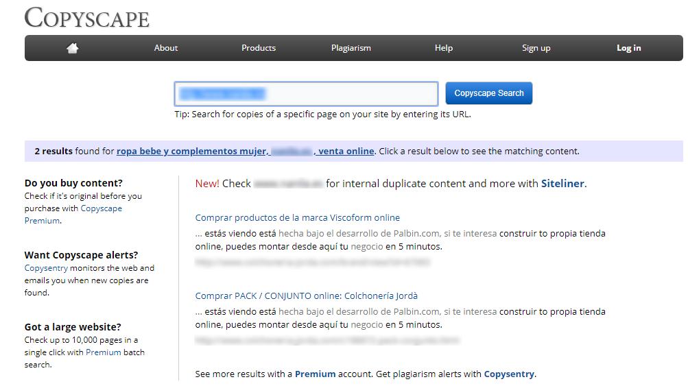 Copyscape ejemplo - contenido duplicado seo