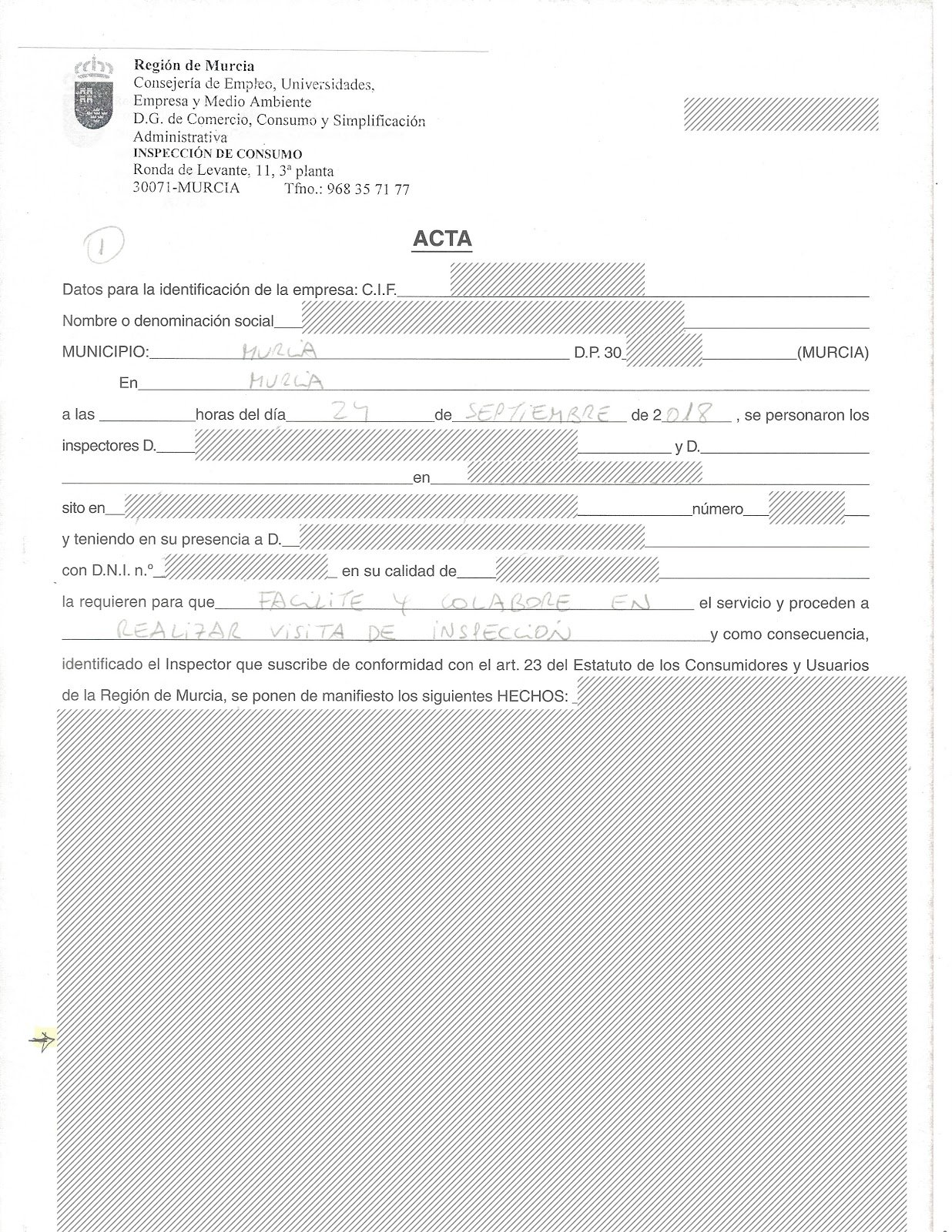 documento inspeccion