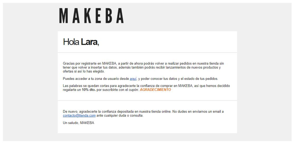 ejemplo email personalizado