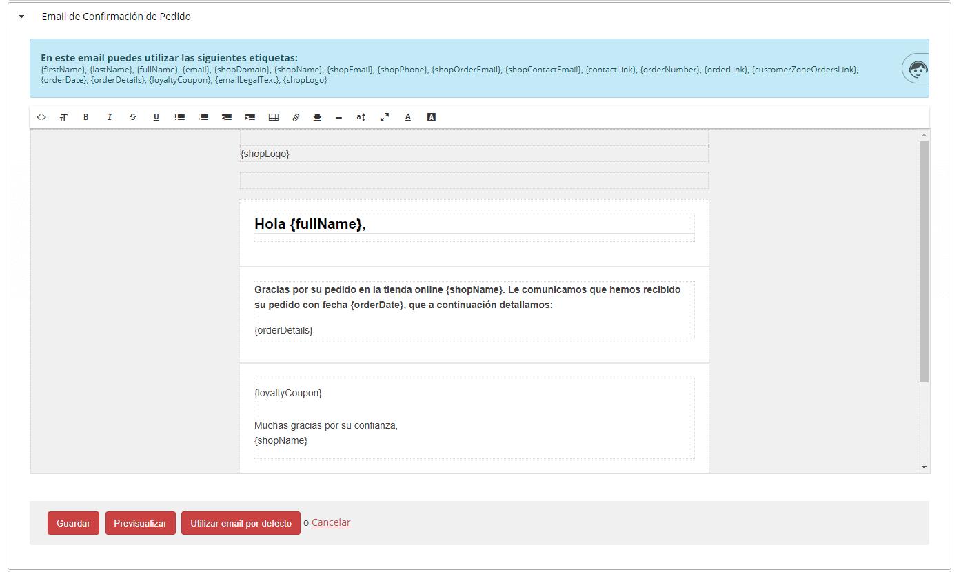 email confirmación de pedido