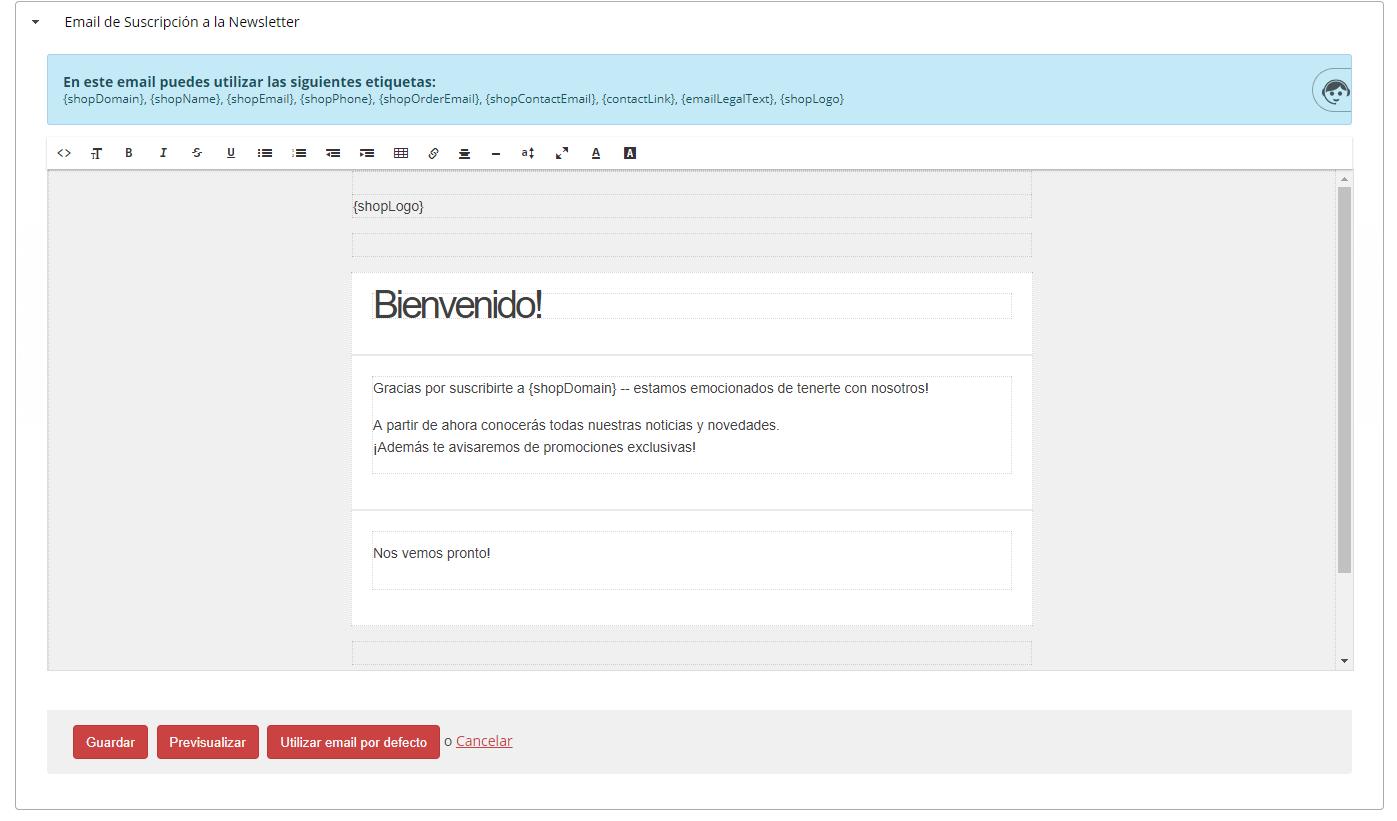 email de suscripción