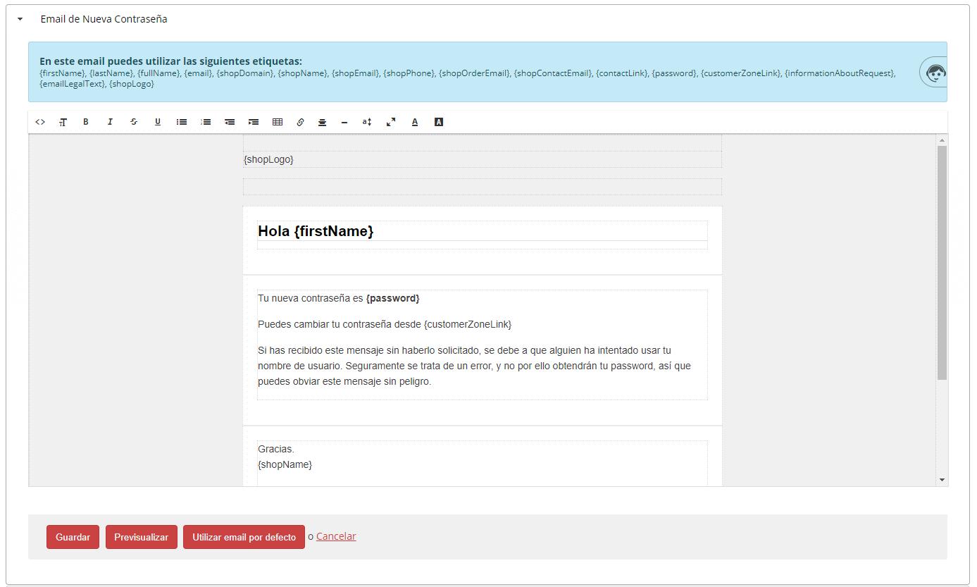 email nueva contraseña
