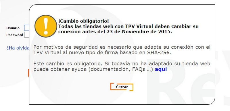 Obligada Actualización SHA 256 del TPV Virtual de Redsys para comercios electronicos tienda online redsys pago seguro metodo de pago