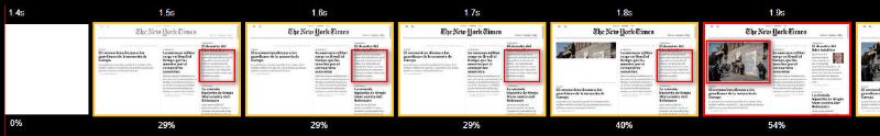 Selección del LCP durante la carga de la web de The New York Times