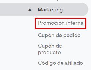 Marketing promocion interna google anlytics