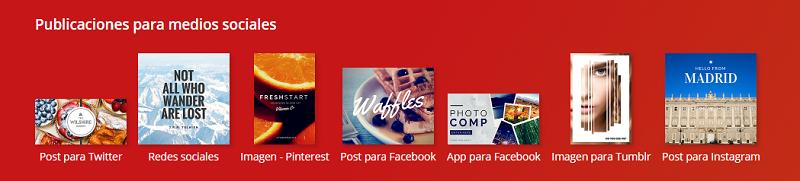 Publicaciones para medios sociales en Canva