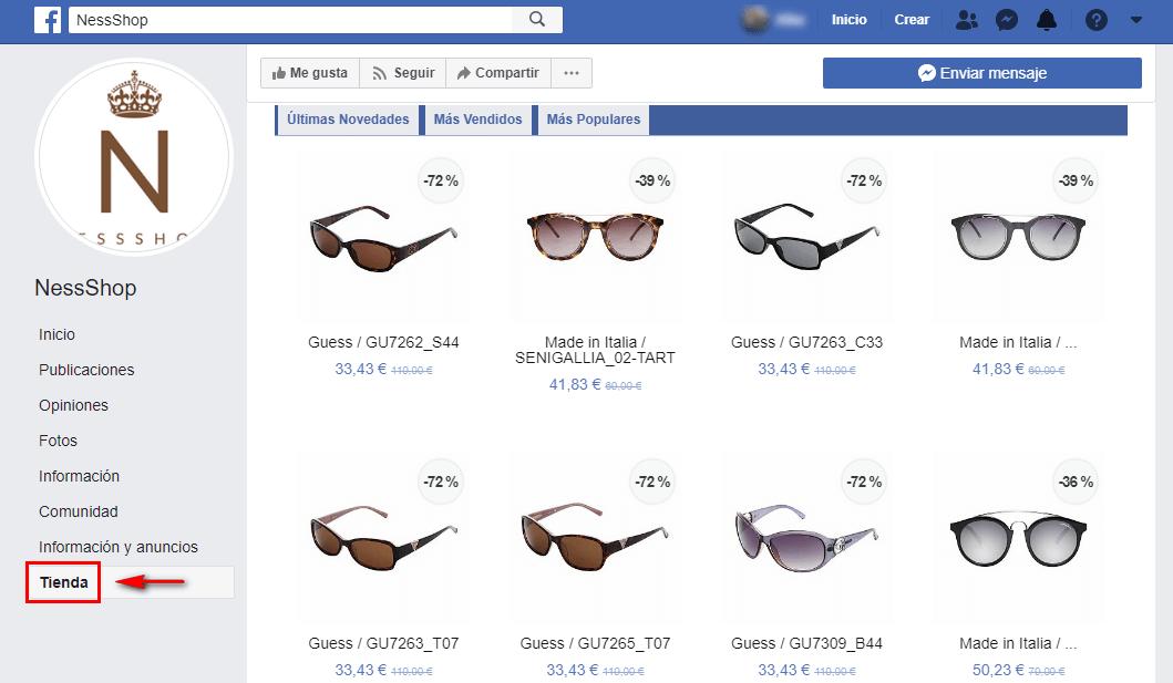 Ejemplo tienda online en Facebook