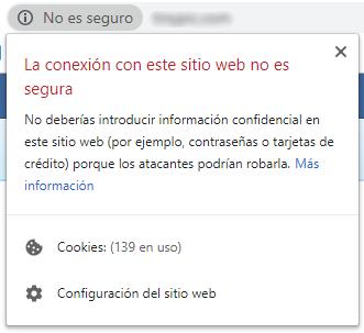 Web sin Certificado de Seguridad instalado