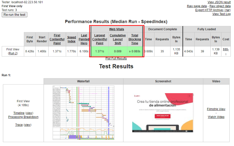 Resultados de Core Web Vitals en webpagetest.org
